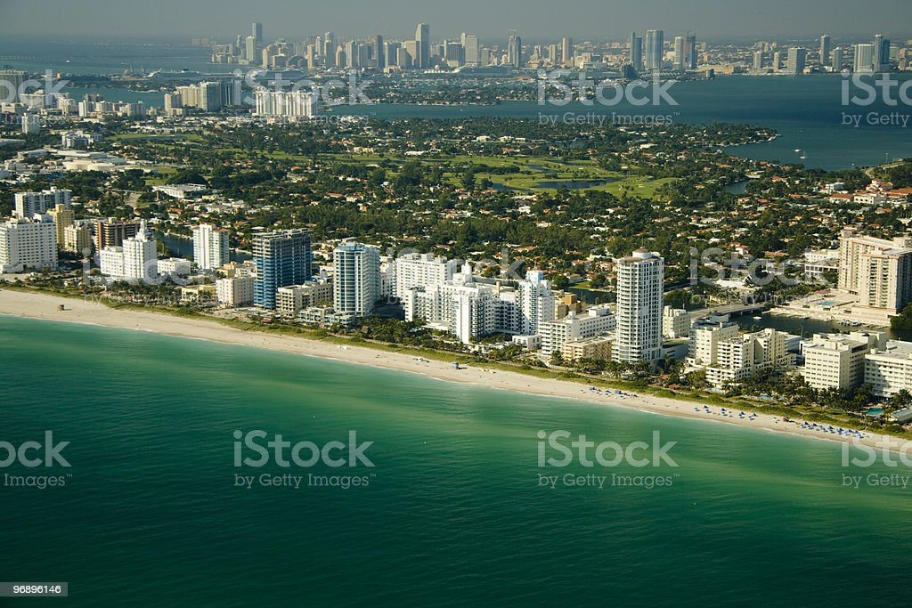 Aerial view of Miami shore royalty-free stock photo