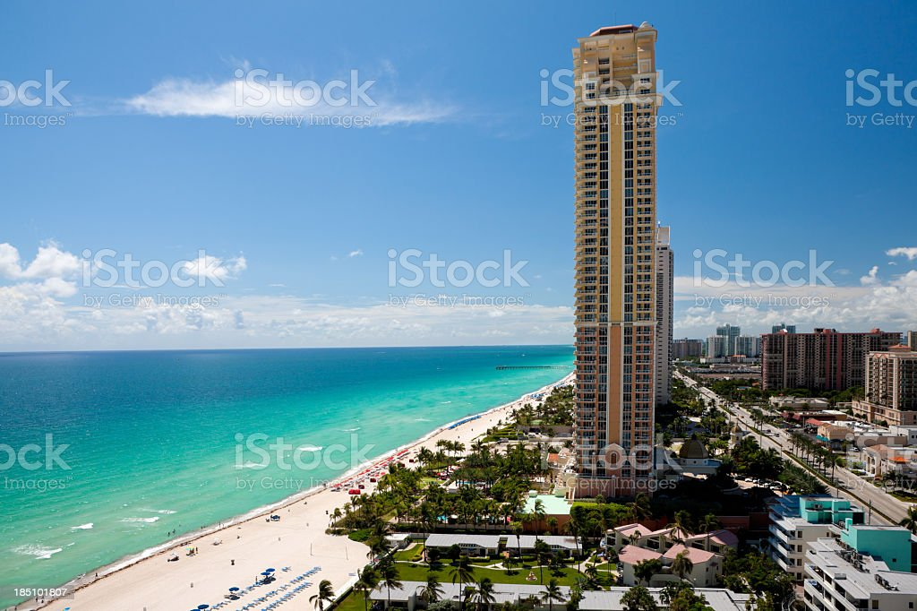 aerial view of Miami skyline on a sunny day royalty-free stock photo