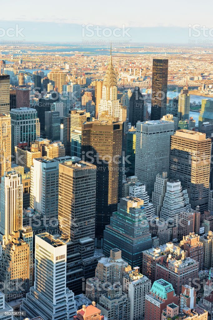 Aerial view of Midtown East NYC stock photo