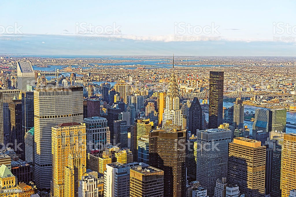 Aerial view of Midtown Manhattan and Long Island City photo libre de droits