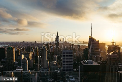 947373704 istock photo Aerial View of Midtown Manhattan at Sunset / NYC 1210353312