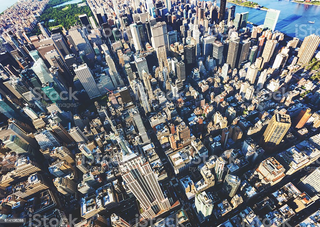 Aerial view of Midtown Manhattan New York City stock photo