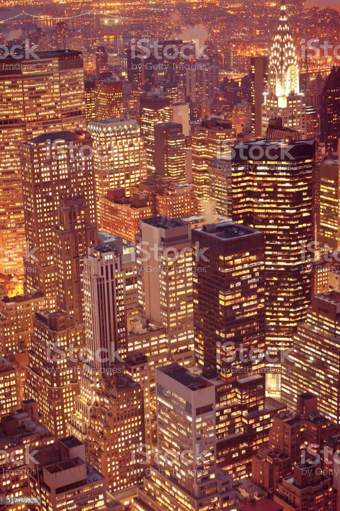 Aerial view of midtown Manhattan with Chrysler building royalty-free stock photo