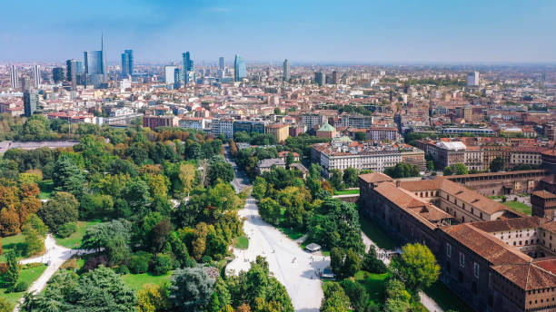 Aerial view of Milan city with Sempione park, Italy stock photo