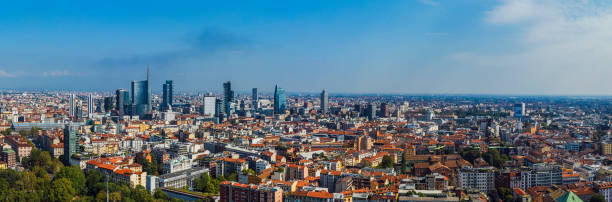 Aerial view of Milan, Italy stock photo