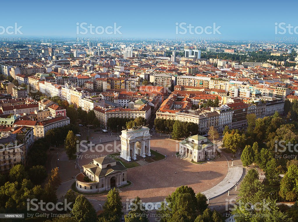 Aerial view of Milan stock photo