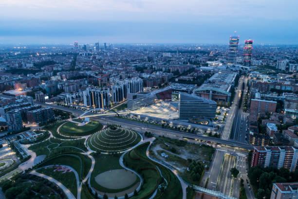aerial view of milan - milano foto e immagini stock