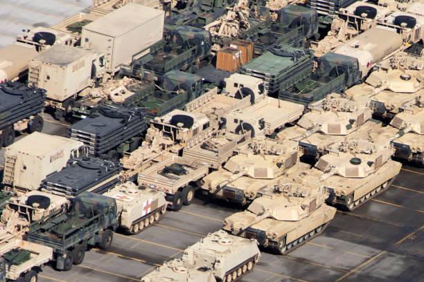 군용 차량의 공중 보기 스톡 사진