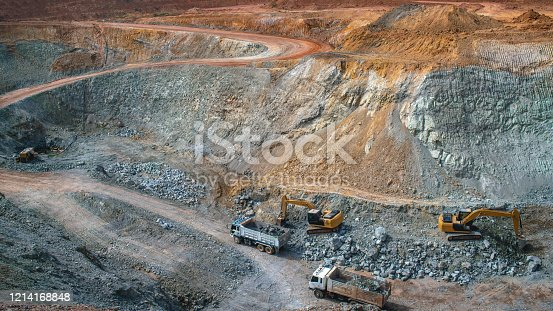 Aerial view of the gold mining openings by the work of many machines
