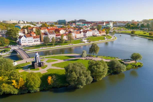 widok z lotu ptaka na mińsk - białoruś zdjęcia i obrazy z banku zdjęć