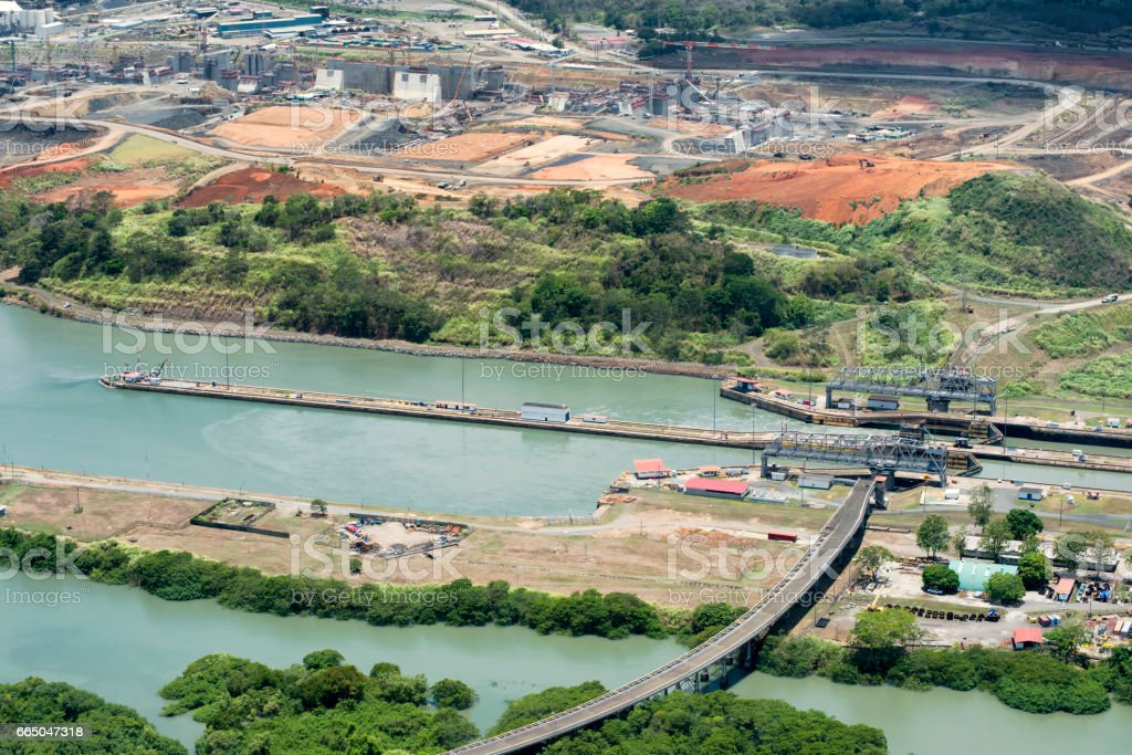 Aerial view of Miraflores locks and the construction of a wider channel and second set of locks in the far left, Panama Canal stock photo