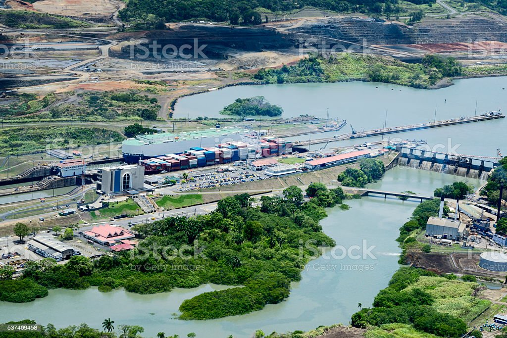 Aerial view of Miraflores Locks stock photo