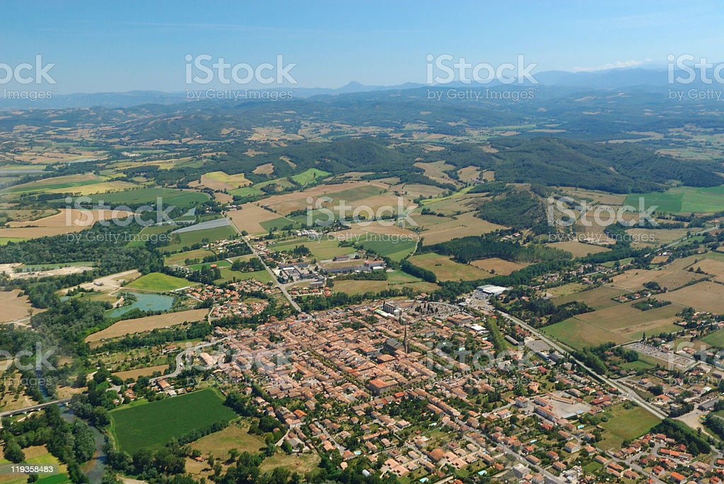 Aerial view of Mirepoix town stock photo