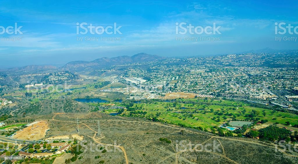 Aerial view of Mission Valley, San Diego stock photo