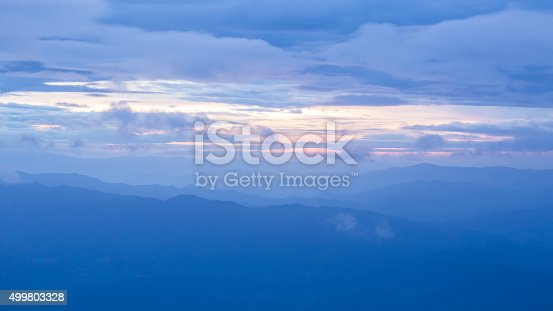 istock Aerial view of misty sky and land scape 499803328