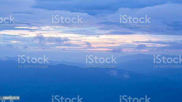 Photo of Aerial view of misty sky and land scape