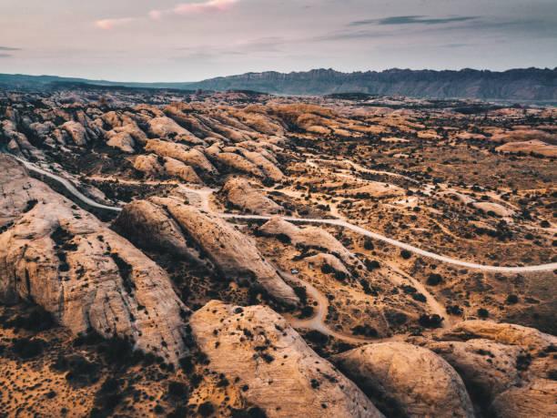vista aérea del paisaje de moab - foto de stock