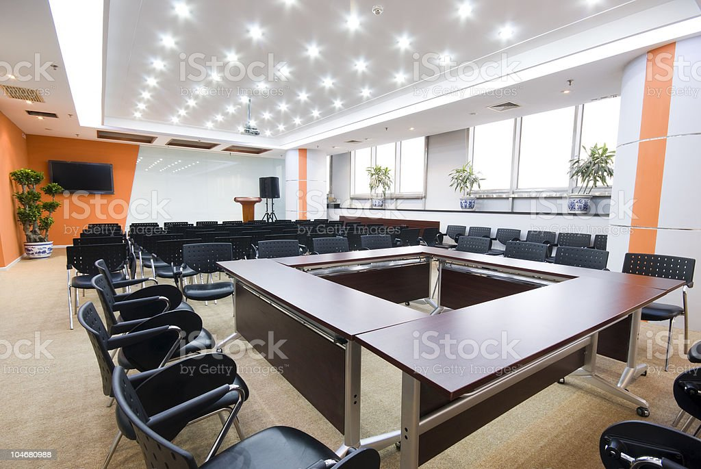 Aerial view of modern boardroom interior stock photo