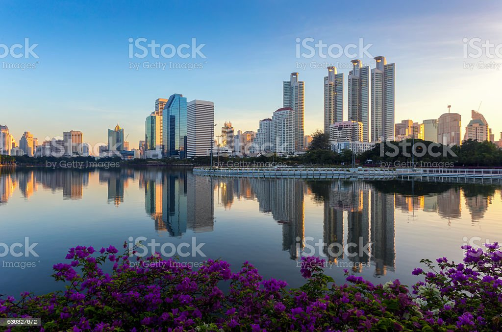 Aerial view of modern building at Bangkok business stock photo