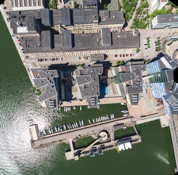flygvy över moderna byggnader - drone helsinki bildbanksfoton och bilder