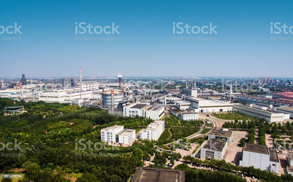 Aerial view of modern chemical plant stock photo