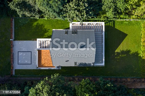 istock Aerial view of modern house 1181472034