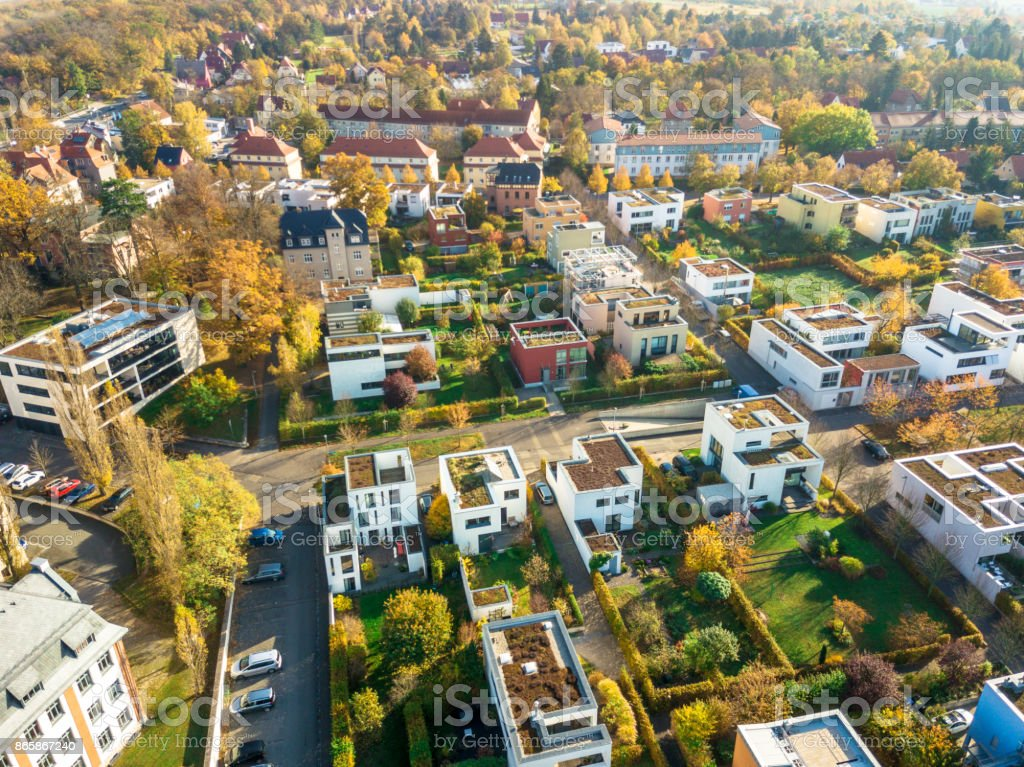 Aerial View of modern Houses stock photo