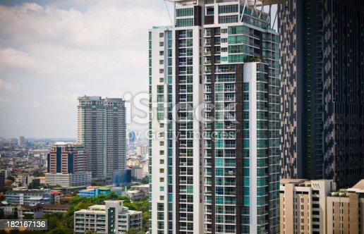 Aerial view of Bangkok Skyline cityscape Thailand Asia  .