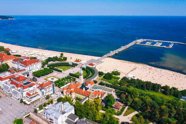 Aerial view of Molo sea pier in Sopot, Poland stock photo
