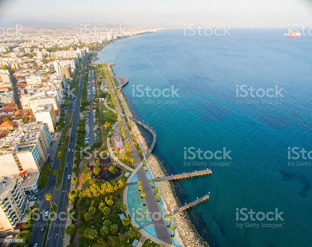 Aerial view of Molos, Limassol, Cyprus royalty-free stock photo
