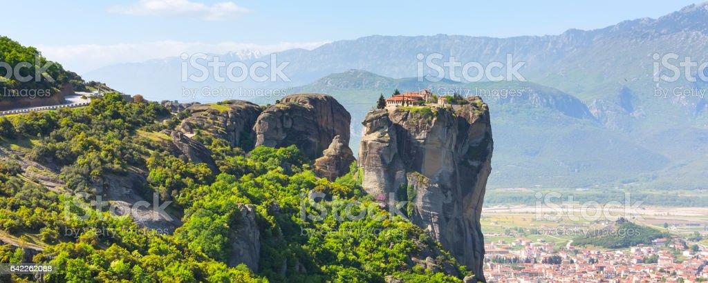 Aerial view of monastery at Meteora cliff and Kalambaka town, Greece stock photo