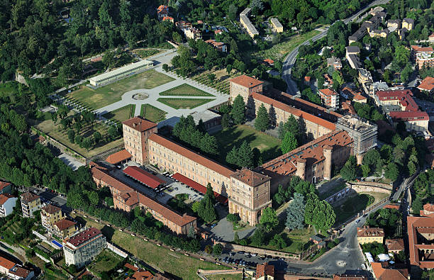 Aerial view of Moncalieri castle, Turin, Piedmont stock photo