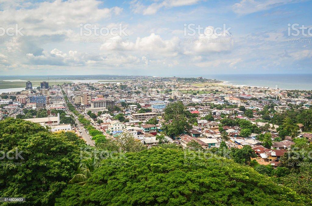 Aerial view of Monrovia, Liberia stock photo