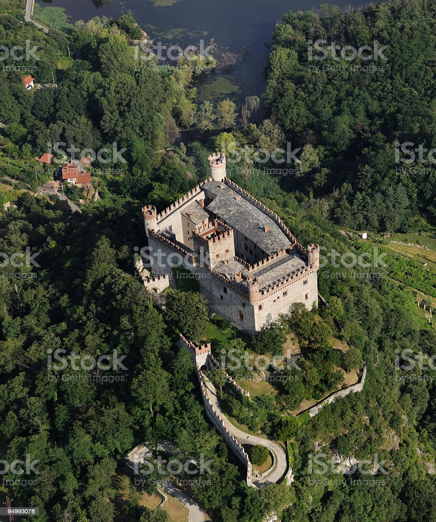 Aerial view of Montalto Dora castle, Turin, Italy royalty-free stock photo