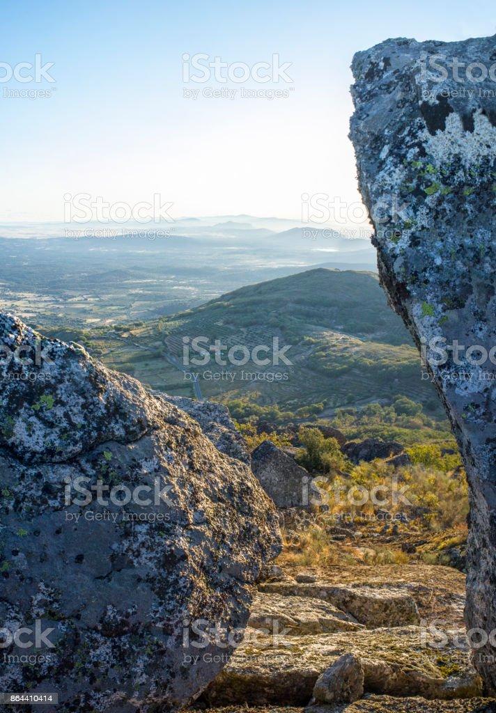 Aerial view of Montanchez Mountain Range from La Cogolla peak. Caceres, Extremadura, Spain stock photo