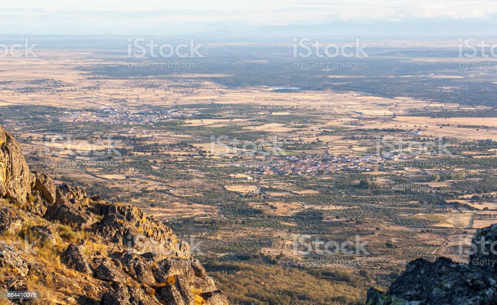 Aerial view of Montanchez Mountain Range from La Cogolla peak stock photo