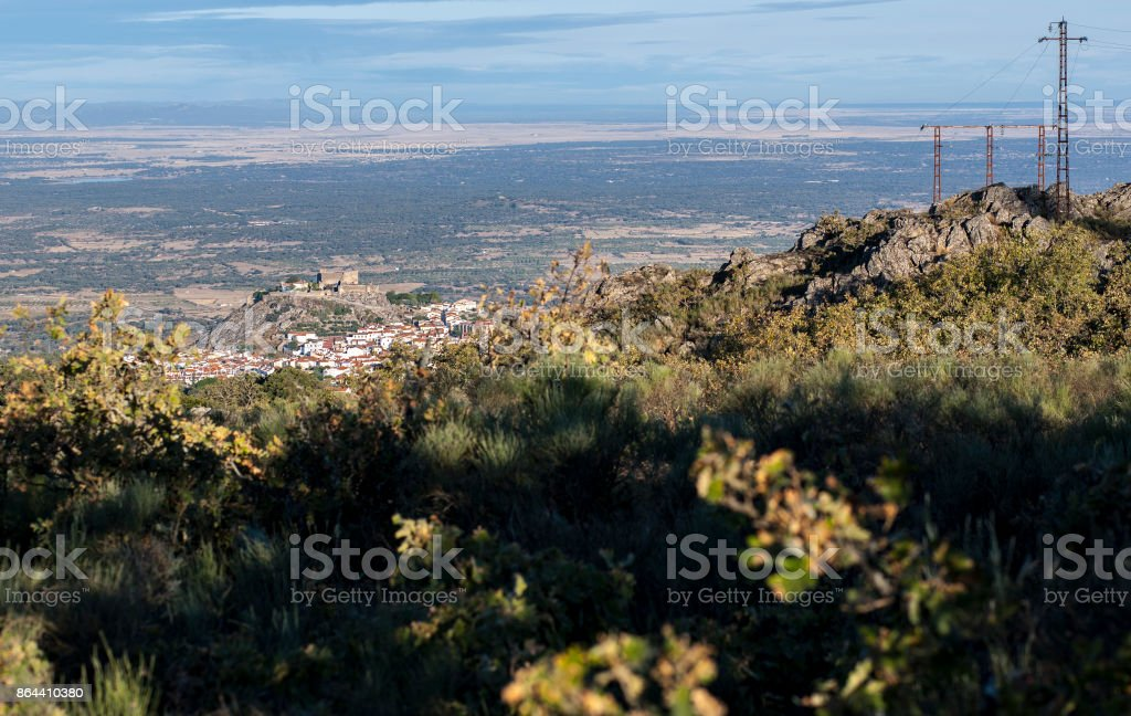 Aerial view of Montanchez Town from La Cogolla peak stock photo