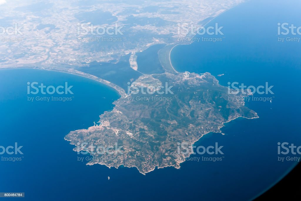 Aerial view of Monte Argentario, Italy stock photo