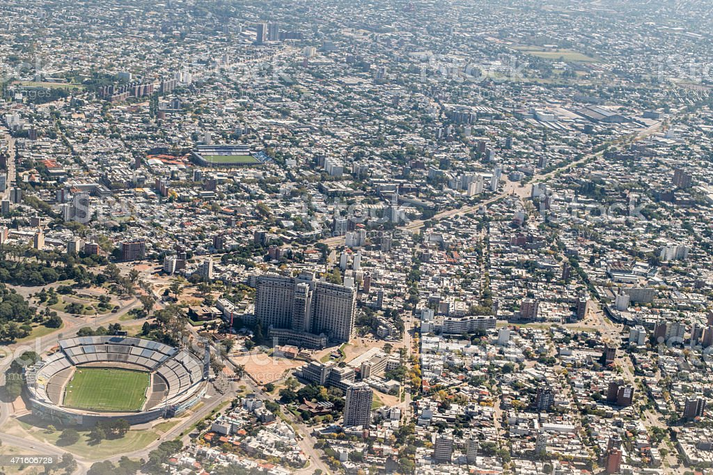 Aerial View of Montevideo from Window Plane stock photo