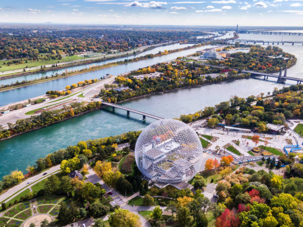 Aerial View of Montreal in Autumn Season, Quebec, Canada stock photo
