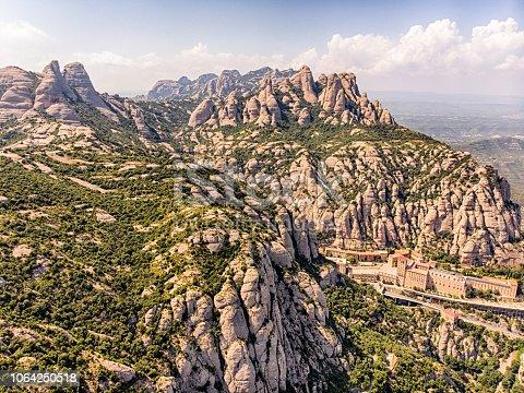 Aerial View of Montserrat Mountain in Barcelona, spain