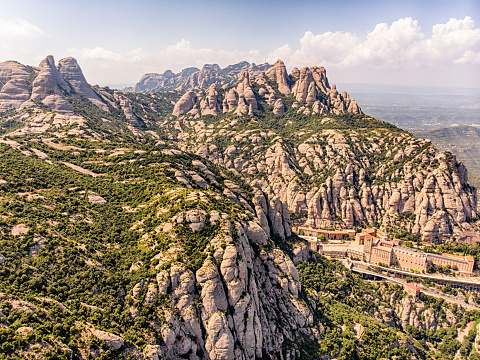 Aerial View of Montserrat Mountain in Barcelona