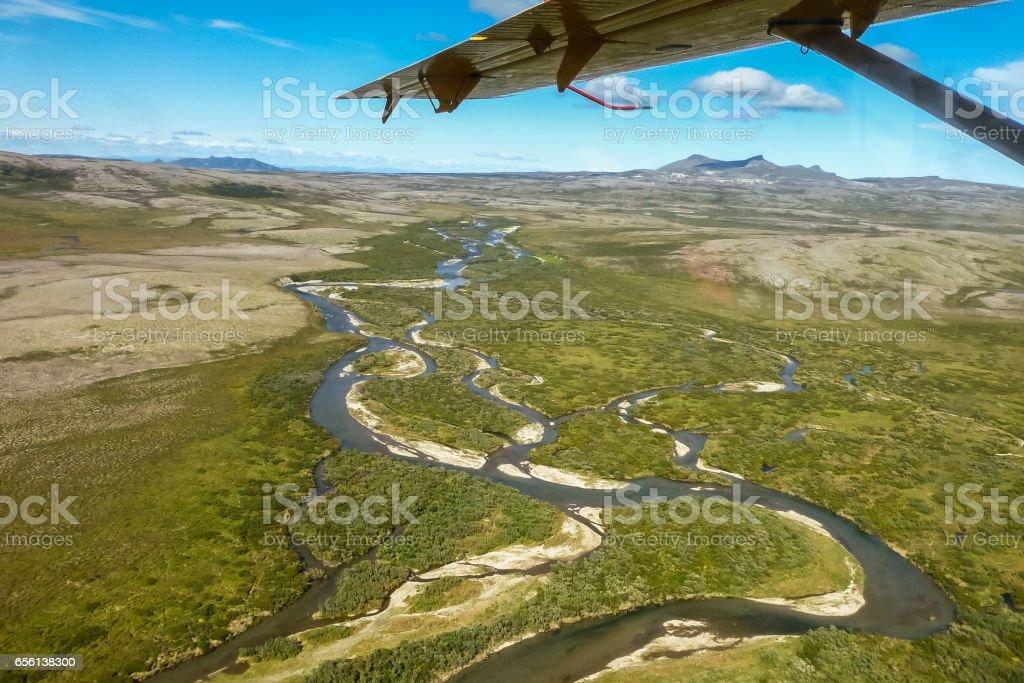 Aerial view of Moraine creek stock photo