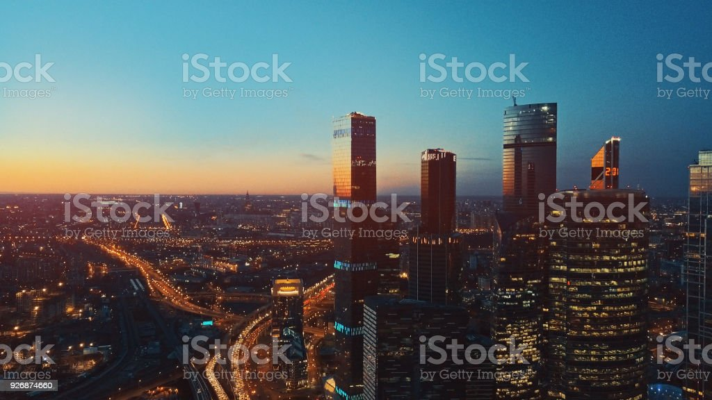 Aerial view of Moscow International City Business Center stock photo