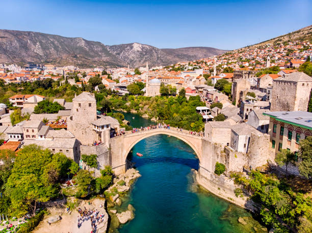 Aerial view of Mostar Bridge Stari Most, old Bridge of Mostar in Bosnia former yugoslavia stock pictures, royalty-free photos & images