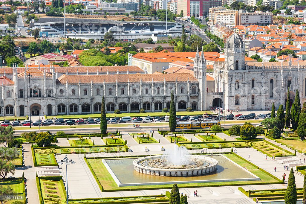 Aerial view of Mosteiro dos Jeronimos in Lisbon stock photo