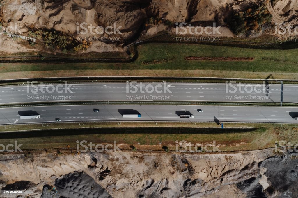Aerial view of motorway at autumn stock photo