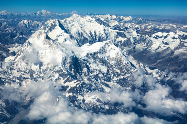 Aerial View of Mount Everest, Himalaya, Nepal stock photo
