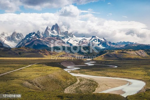 Aerial view of Patagonia landscape showing Mount Fitzroy and Las Vueltas River in El Chalten, Argentina, South America.
