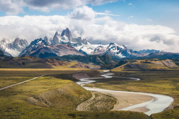 Aerial View of Mount Fitz Roy and Las Vueltas River in El Chalten, Argentine Patagonia, South America stock photo